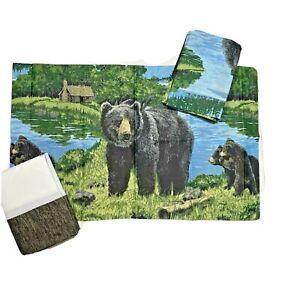New Bear Cub King Bedskirt & Shams Pillowcases Set 3-Pc Bundle Cabin Rustic Camp