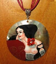 Genuine Russian hand painted REPRODUCTION SHELL pendant KLIMT JUDITH II SALOME