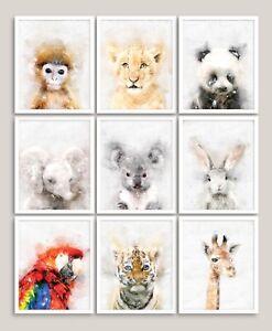 Animals Watercolour Wall Art Prints Picture Nursery Safari Poster Kids Bedroom D
