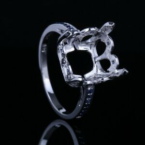 14k White Gold Semi Mount Cushion 10X11mm 0.28CT Sapphires Diamonds Ring Setting