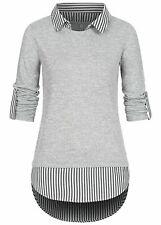 B21029001 Damen 77 Lifestyle Shirt 2in Turn-Up Longsleeve Bluseneinsatz grau