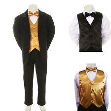 New Baby Boy Formal Wedding Party Black Suit Tuxedo + Gold Vest Bow Tie Set S-4T
