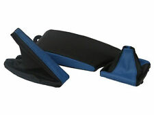 FITS BMW E36 E46 LEATHER ARMREST COVER&GAITERS BLACK M BLUE