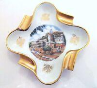 """PORCELAINES D'ART Gilded Collector Dish Ashtray MONACO PALAIS DU PRINT 4.5"""" VTG"""