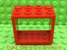 New LEGO Red WINDOW FRAME 2x4x3 Classic City Town Minifigure Building House Barn