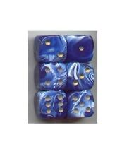 NEW Dice Set of 6 D6 (15mm) - Marble Blue