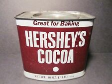 Vintage Empty 16 oz. 100% Hershey's Cocoa Tin - Recipes On Back And Side Of Tin
