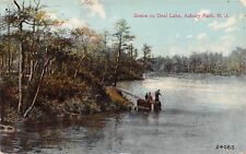 Asbury Park New Jersey~Deal Lake~Fishermen on Stumps~Ladder From Bank~1908 PC