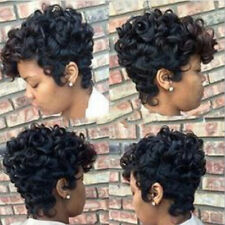 Fashion Women Short Curly Wavy Wig Black Synthetic Hair African American Wig