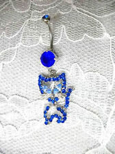 DAZZLING COBALT & BABY BLUE CRYSTAL KITTY CAT 14g BLUE CZ BELLY BAR NAVEL RING