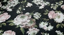 CHIFFON FABRIC - MIXED FROWER DESIGN -WHITE & PINK FLOWERS ON A BLACK BACKGROUND