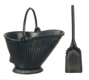 Dolls House Coal Skuttle Bucket & Shovel Set Chrysnbon Fireside Accessory