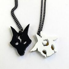cut black white acrylic LoL Kindred friendship necklaces Laser