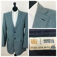Marks & Spencer Mens Jacket Blazer Chest 42 Long Wool Blue Tweed Style  (X40)