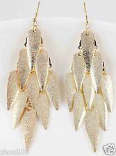 9k Yellow Gold Filled Women Elegant Rhinestone Ear Stud dangle Earrings e490