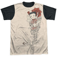 Betty Boop 1930s Animated Character Icon Rose Tattoo Adult Black Back T-Shirt T