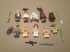 LEGO lot of 10 Star Wars Good Guy Minifigs Yoda Luke Leia Han R2-D2 Chewie I340
