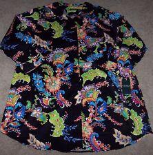 NWT Ralph Lauren Black COLORFUL PAISLEY Sleep Shirt Nightgown Gown M Green/Blue