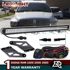 """50"""" LED Light Bar Combo+Roof Mount Brackets For Dodge Ram 1500 2500 3500 2002-08"""