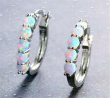 Woman Silver White Imitation Opal Charm Drop Dangle Earring wedding Jewelry