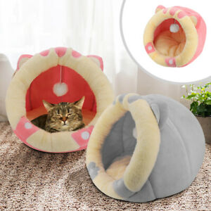 Cute Pet Cat Cave Igloo Bed Small Puppy Dog Sleep Cushion Mat Warm Nest Indoor