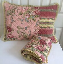 2 PILLOW SHAMS Standard Quilted Thick Floral Pink Shabby Chic Cottage Country