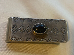 Bruce Wood Sterling Money Clip with Stamp Work and Black Onyx