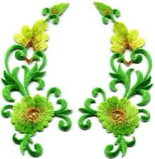 Yellow Green trim flowers boho art deco appliques iron-on patches pair S-1215