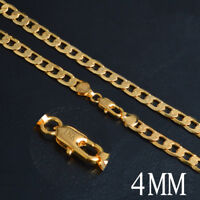 Fashion Men 18K Gold Plated Cuban Curb Link Chain Lobster Clasp Necklace Jewelry