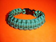 "550 ParaCord Survival Cobra Braided Bracelet - Kelly Green - Fits up to 7"" Wrist"