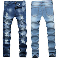 Men's Stretchy Ripped Skinny Biker Jeans Destroyed Fashion Slim Fit Denim Pants
