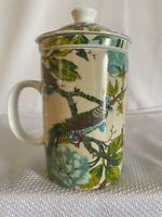 World Market Ceramic Tea Cup Mugw/Lid & Ceramic Infuser Floral Birds New