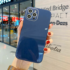 Deep Blue Tempered Glass Case For iPhone 12 11 Pro XS Max XR X 8 7 Plus Cover