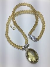 Lemon Citrine Beaded Necklace With Pendant 925 Silver
