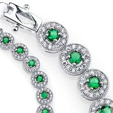 925 Sterling Silver CZ Green Emerald Cubic Zirconia Milgrain Tennis Bracelet