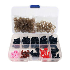 50pcs 6~12mm Safety Eyes, 25pcs 9~12mm Safety Noses for Dolls Sewing 4 Colours