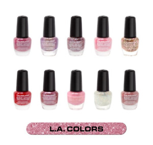 LA Colors Nail Polish Collection Set of 10 Glitter / Pink / Red FREE SHIPPING