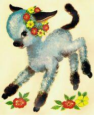 1 Cute Lamb Original Vintage Nursery Decoration Transfers Decals (Large) Unique