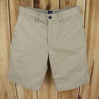 Gap Khaki Shorts Flat Front Mens 32 Brown 100% Cotton Chinos Pockets Belt Loops