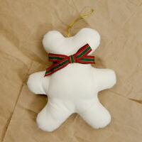 90's Vintage Faceless Teddy Bear Plush Stuffed Animal Ornament Xmas Neck Tie Bow