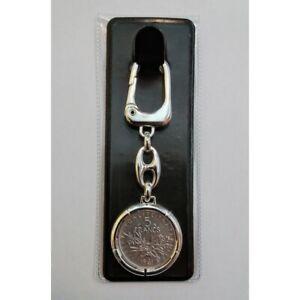 Porte-Clés Avec Monnaie en Argent - 5 Francs Semoir - Diamètre 29 MM