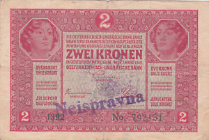 """2 KORONA FINE BANKNOTE WITH STAMP FROM CROATIA/""""CANCELLED""""1919"""