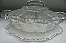 Vintage Clear Pressed Glass Butter/Condiment Dish w/ lid & Attached under plate