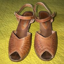 vtg 70's leather Charm Step slingback heels peep-toe pumps shoes Brazil 9 Fiesta