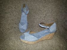 TOMS-Denim Chambray-OPEN TOE-ANKLE STRAP-WEDGE CORK Sandals-Size 8.5-Near Mint
