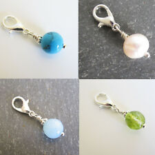 Clip on Lobster Clasp BIRTHSTONE CHARM BEAD For BRACELET - Choice of 12 STONES