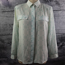 Sears Women's Long Sleeve Blouse Geometric Green Pattern Vintages 80's Made in K