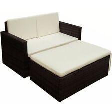 Patio Furnitur Garden Sofa Set 7 Pieces Poly Rattan Outdoor Furniture Seat Brown