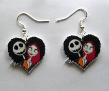 New  Nightmare before Christmas movie Jack and Sally heart shapped earrings
