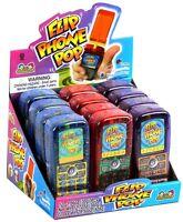 903235 808g BOX OF 12 FLIP PHONE POPS FRUIT FLAVOURED CANDY NOVELTY KIDS GIFT!